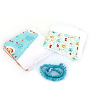 חיתולי טטרה מעוצבים וקושרת - מארז אקססורי אישי לתינוק אקווה חיות