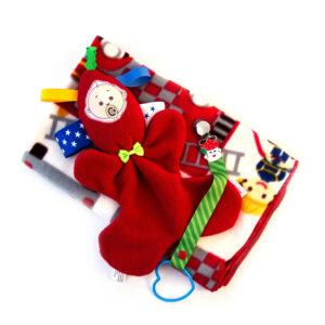 מתנת לידה לתינוק מארז שמיכת פליס סמי הכבאי בובת חבוק ומחזיק מוצץ