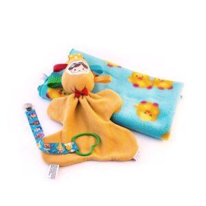 מתנת לידה שמיכת פליס לתינוק אקווה אפרוחים בובת חבוק ומחזיק מוצץ