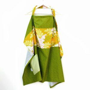 סינר הנקה מעוצב וגדול במיוחד נקודות ירוק זית פרחוני