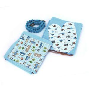 חיתולי טטרה מעוצבים וקושרת - מארז אקססורי אישי לתינוק תכלת מכוניות
