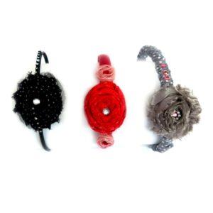 סט קשתות מעוצבות לשיער אפור מוכסף אדום שחור