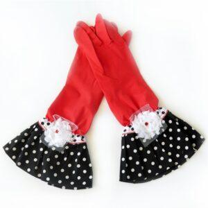 כפפות נקוי והגנה מעוצבות לדיוה - אדום נקודות שחור לבן