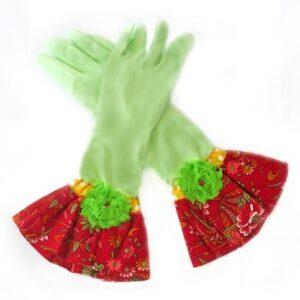 כפפות נקוי והגנה מעוצבות לדיוה - ירוק פרח ירוק
