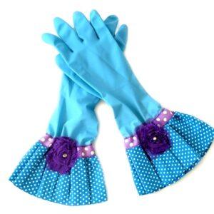 כפפות נקוי והגנה מעוצבות לדיוה - תכלת פרח סגול