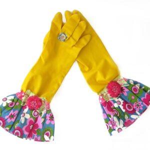 כפפות נקוי והגנה מעוצבות לדיוה - צהוב פרח פוקסיה
