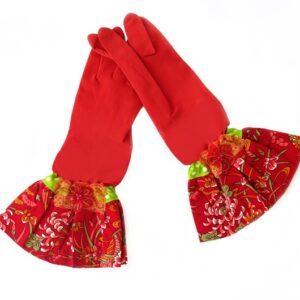 כפפות נקוי והגנה מעוצבות לדיוה - אדום פרח אדום