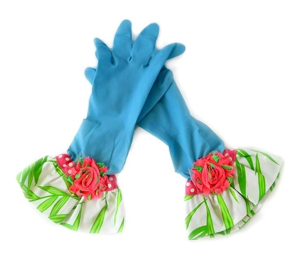 כפפות נקוי והגנה מעוצבות לדיוה - תכלת פרחוני ירוק