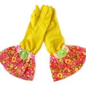 כפפות נקוי והגנה מעוצבות לדיוה - צהוב פרח ירוק