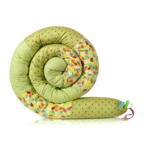 נחשוש שבלול מגן ראש למיטת תינוק ולמיטת מעבר שלובים של ירוק ורוד