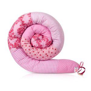 נחשוש שבלול מגן ראש למיטת תינוק ולמיטת מעבר שלובים בורוד