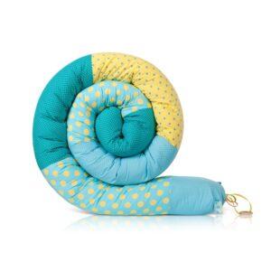שבלול נחשוש מגן ראש למיטת תינוק ולמיטת מעבר נקודות אקווה צהוב