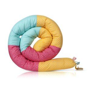 נחשוש שבלול מגן ראש למיטת תנוק ולמיטת מעבר נקודות אקווה ורוד צהוב