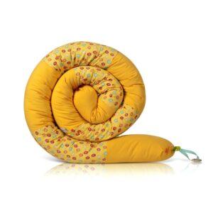 שבלול נחשוש מגן ראש למיטת תינוק ולמיטת מעבר צהוב ממתקים