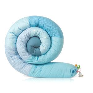 נחשוש שבלול מגן ראש למיטת תינוק שלוב של תכלת ואקווה