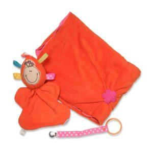 מארז מתנה לתינוקת בככתום-ורוד, שמיכת פליס עם פרוה בובת חבוק וקושרת מחזיק מוצץ