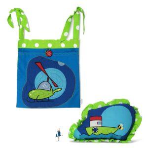 ארגונית כיס תלוי מסוק וכרית תואמת אניה כווצים נקודות ירוק זוהר