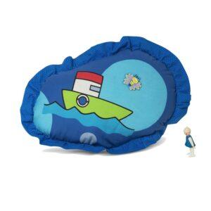 כרית נוי מעוצבת לחדר-ילדים ספינת חלומות כחול כווצים