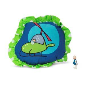 כרית נוי מעוצבת לחדר-ילדים מסוק נקודות ירוק כווצים