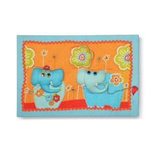 תמונת קיר מעוצבת ומפוסלת פיל ופילה האהבה פורחת